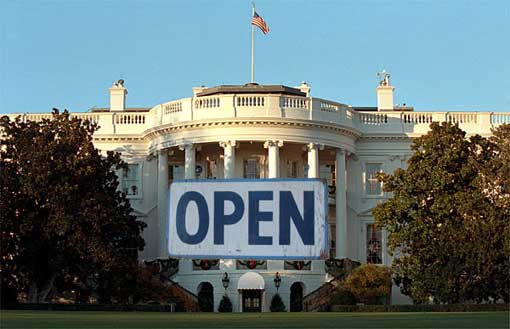 White House image with Open sign